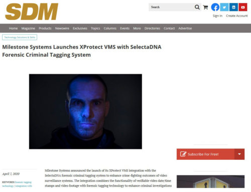 Milestone Systems Launches XProtect VMS with SelectaDNA Forensic Criminal Tagging System